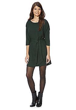 Jacqueline De Yong Tie Belt 3/4 Length Sleeve Dress - Bottle green