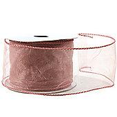 """Ribbon Organza Wired Edge - 2.5"""" x 10y - Dusty Pink"""
