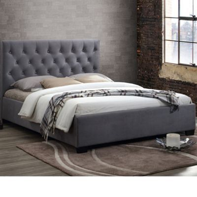 Happy Beds Cologne Velvet Fabric Low Foot End Bed with Pocket Spring Mattress - Grey - 4ft6 Double