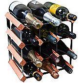 Harbour Housewares 12 Bottle Wine Rack - Fully Assembled - Dark Wood