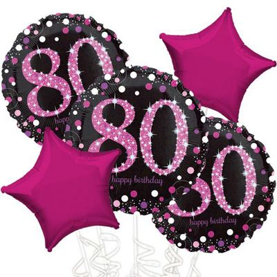 80th Birthday Pink Sparkling Celebration Balloon Bouquet - Assorted Foil 18 inch