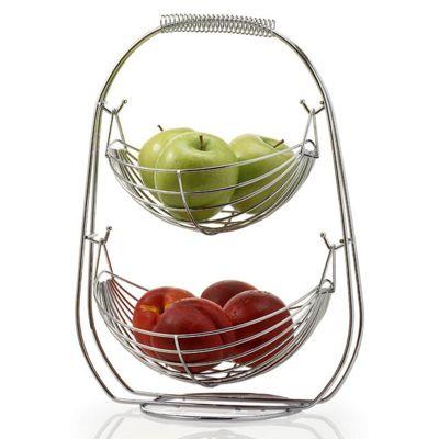 2 Tier Chrome Fruit Hammock Basket Rack Holder Organizer Kitchen Storage Stand