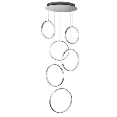 RINGS LED 6 RINGS CEILING MULITI-DROP, CHROME, CLEAR CRYSTAL