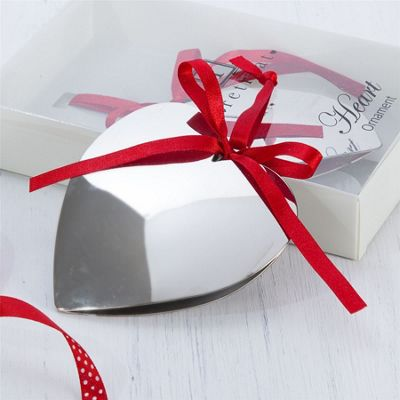 Xmas - Silver Heart Decoration with Red Ribbon