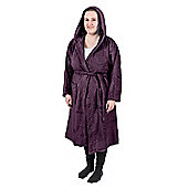 Homescapes Grape 100% Combed Egyptian Cotton Hooded Adults Unisex Bathrobe, L/XL