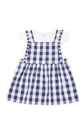 F&F Gingham Pinafore Dress and Top Set Navy/White 0-3 months