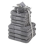 Luxury 100% Egyptian Cotton 12 Piece Face Hand Bathroom Jumbo Towel Bale Set - Grey
