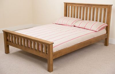 Cotswold Rustic Solid Oak 4ft6 Double Bed with 8