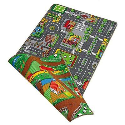 Children's Dual Playmat 80x120cm Roadmap/Farmlife Rug