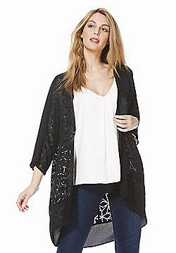 F&F Textured Kimono Jacket - Black