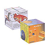 ZooBooKoo Educational Dinosaurs and Planets Cube Book Pack