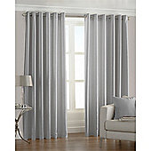 Riva Home Fiji Faux Silk Eyelet Curtains - Satin Steel
