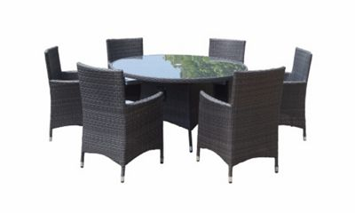 Royalcraft Marlow 6 Seater Round Dining Set - 140cm Round Table with 6 Carver Chairs including cushions