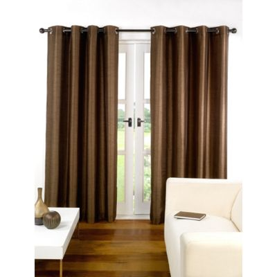 Hamilton McBride Faux Silk Lined Eyelet Chocolate Curtains - 66x72 Inches (168x183cm)