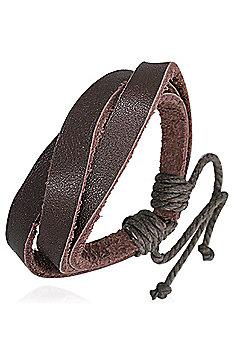 Men's Dark Brown Leather Multi-strand Bracelet by Urban Male
