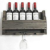 Rustic 4 Bottle Wooden Shelf