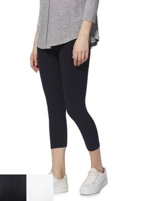 F&F 2 Pack of Cropped Leggings Navy/White 22