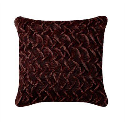Silk & Satin Ruffle Cushion - Chocolate