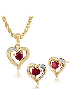 Gemondo 9ct Yellow Gold Ruby & Diamond Heart Stud Earrings & 45cm Necklace Set