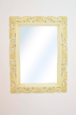 Large Ivory Carved Wood Antique Shabby Chic Wall Mirror 4Ft X 3Ft, 122Cm X 91Cm