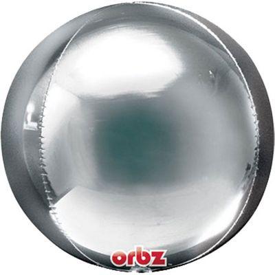 Silver Birthday Orbz Balloon - 25 inch Long Lasting
