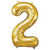 Gold Number 2 Balloon - 34 inch Foil