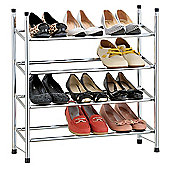 EHC 4 Tier Chrome Plated Shoe Rack