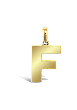 9ct Yellow Gold Initial Charm Identity Pendant - Letter F