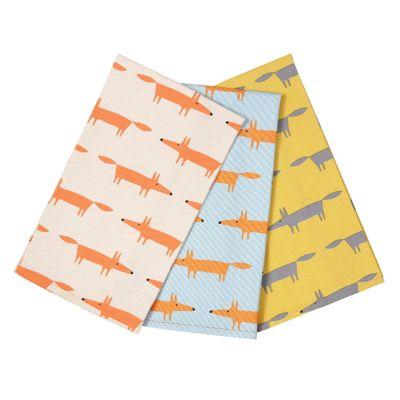 Scion Mr Fox Set of 3 Tea Towels Gift Box