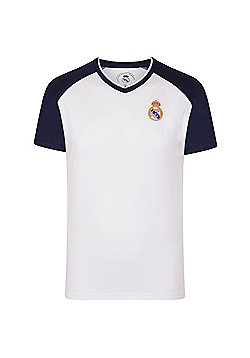 Real Madrid Boys Poly T-Shirt - White & Navy