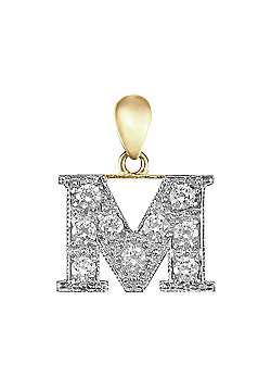 9ct Yellow Gold Cubic Zirconia Initial Charm Identity Pendant - Letter M