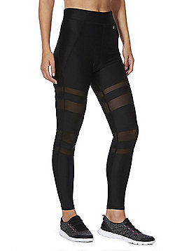 F&F Active Mesh Stripe Leggings - Black