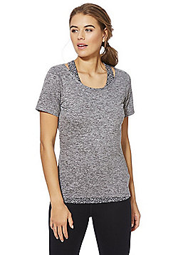 F&F Active 2 in 1 T-Shirt and Monochrome Vest Top - Multi