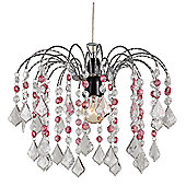 Crystal Effect Pendant Shade with Transparent and Pink Acrylic Droplets