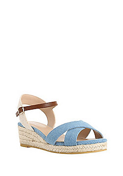F&F Cross-Strap Wedge Espadrilles - Blue