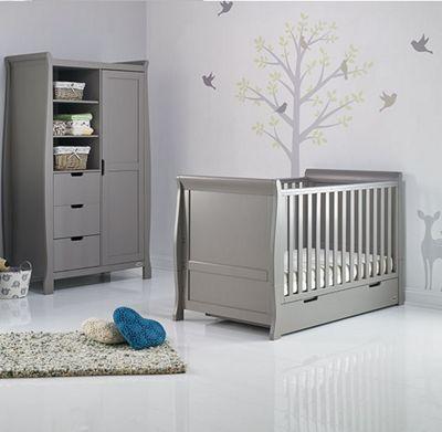 Obaby Stamford Classic 2 Piece Cot Bed/Wardrobe Nursery Room Set - Warm Grey