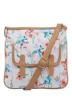 F&F Canvas Floral Print Cross-Body Bag