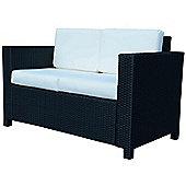 Outsunny 2 Seater Garden Rattan Sofa Chair in Black
