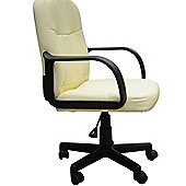 Homcom Swivel PU Leather Office Chair-Cream