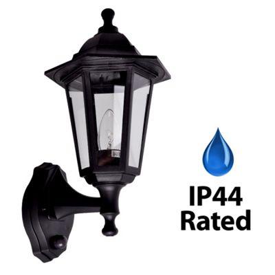IP44 Outdoor PIR Sensor Wall Light in Black