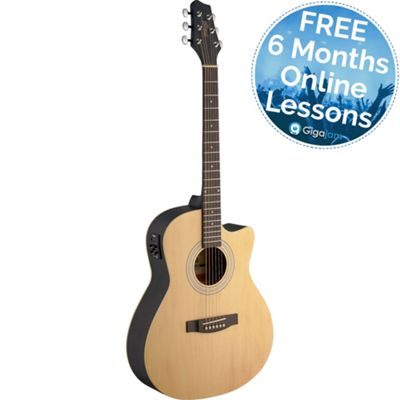 Stagg Electro-Acoustic Auditorium Guitar - Natural – with 6 Months Free Online Music Lessons