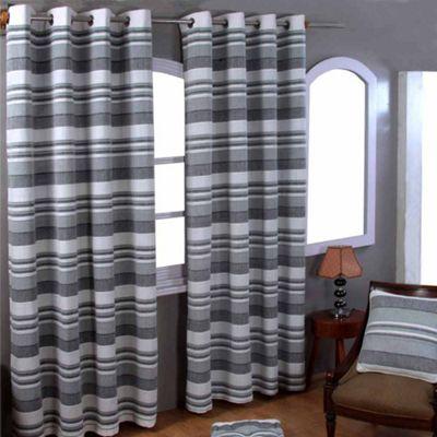 Homescapes Cotton Morocco Striped Monochrome Curtain Pair, 66 x 90