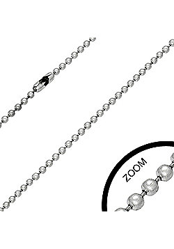 Urban Male Men's Stainless Steel Military Ball Link Chain 2.4mm Wide & 16in Long