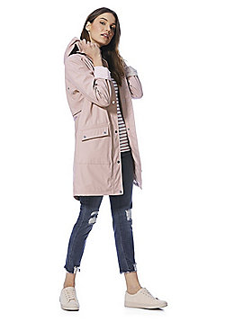 F&F Rubberised Shower Resistant Hooded Raincoat - Blush
