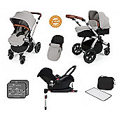 Ickle Bubba Stomp V3 AIO Travel System with 2 x Isofix Base + Mosquito Net Silver (Silver Chassis)
