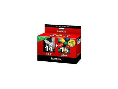 Lexmark No 14 and No 15 Twin Pack Ink Cartridges -Black/cyan/Magenta/Yellow
