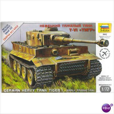 ZVESDA 5002 German Heavy Tank Tiger I Early Snap Fit 1:72 Tank Model Kit
