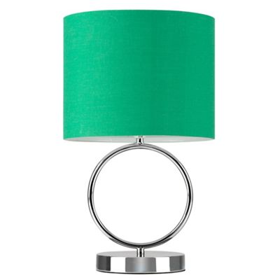 MiniSun Lavoisier 30cm Touch Dimmer Table Lamp Polished Chrome - Green