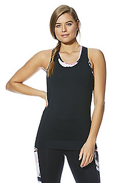 F&F Active Watercolour Print Crop Top and Vest Set - Black