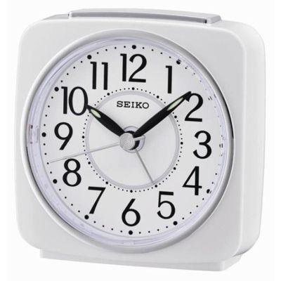 Seiko QHE140W Beep Alarm Analog Clock with Snooze Function - White
